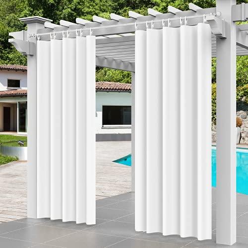 Comlax Cortinas de exterior para patio, impermeables, térmicas, con hebilla de plástico desmontable, cortinas de peso opaco para porche, pérgola, cenador, 1 panel, 150 x 200 cm, color blanco