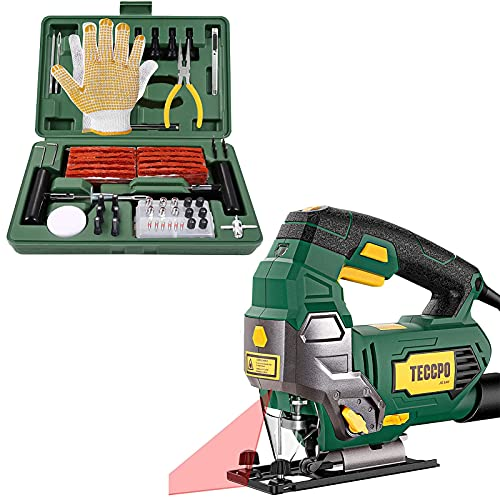 TECCPO 6.5Amp Jigsaw, 3000 SPM Jig saw with Laser, 6 Variable Speed & Tire Repair Kit, 100Pcs Heavy Duty Tire Plug Kit, Motorcycle-Universal Tire Repair Tools