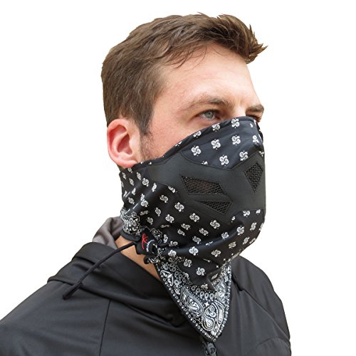Grace Folly Half Face Mask for Cold Winter Weather. Use This Half Balaclava for Snowboarding, Ski, Motorcycle. (Many Colors) (Bandana- BW)