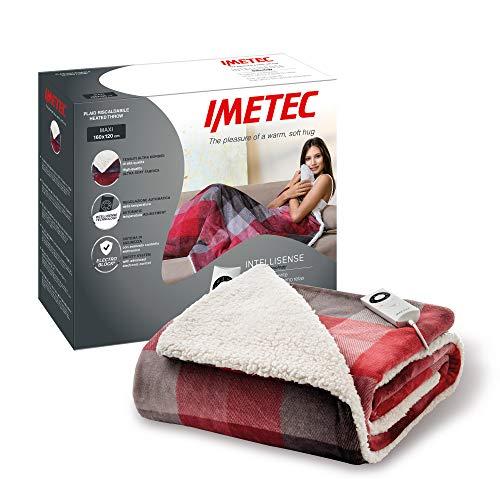 Imetec, Tartan Velvet, Heizdecke, Intellisense-Technologie, Samt mit Tartanmuster und weißer Sherpa-Plüsch, Waschmaschinenwäsche, 5 Temperaturen, Sicherheitssystem, Maße: 160 x 120 cm