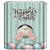 WEFH Oster-Duschvorhang für Badezimmer, lustig, böses Kaninchen, Stoff, Duschvorhang-Set, grün, 180 x 180 cm