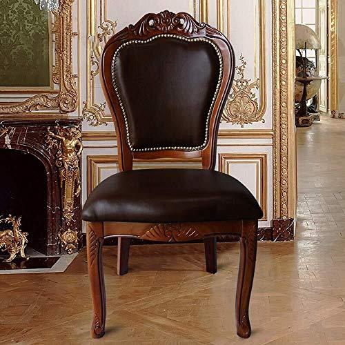 CENPEN Sillas de comedor para cocina, mesa europea, silla de café, de madera maciza, duradera, fácil de montar, 2 piezas (color: marrón, tamaño: 52 x 55 x 108 cm)