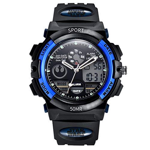 ZZTX FASHION Jungs Mädchen Kinder Digital Uhr mit Silikon Band Wasserdicht Sport Armbanduhren Cartoon Alarm Uhr, Blau