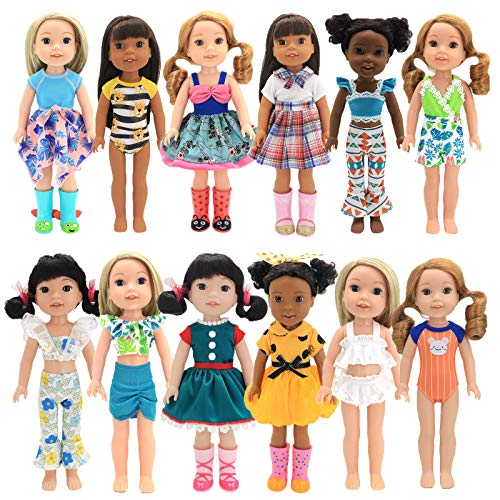 XADP 12 Sets Doll Clothes Dresses Clothing Outfits Fits for American Girl Wellie Wishers Doll,14' and 14.5' Girl Dolls Clothes Outfits