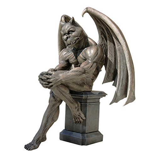 Design Toscano DB383050 Socrates The Gargoyle Thinker Outdoor Garden Statue, 23 Inch, Two Tone Stone