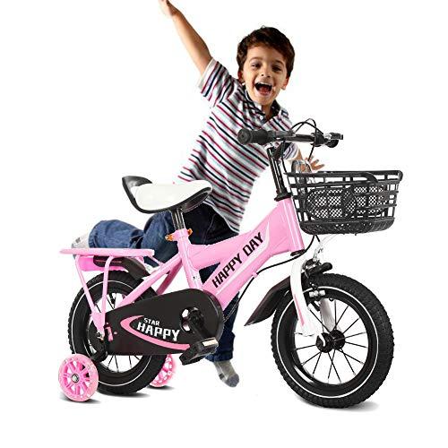 NEWPIN Verlichte jongen kinderfiets jongen fiets met achterbank, zadel en stuur in hoogte verstelbaar, gesloten kettingkast, 2 remmen, anti-slip pedaal, ondersteuning wielen
