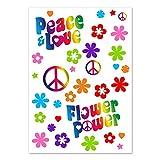 Juego de Pegatinas Flower-Power | kfz_262 | Peace and Love Colorido | Tamaño de Hojas DIN A4 | Pegatinas para Bicicleta Ordenador portátil teléfono móvil Pegatina-Coche Resistente a la Intemperie