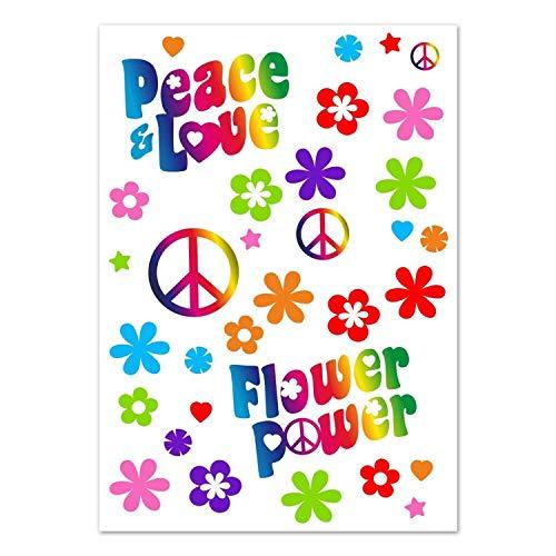 Aufkleber Set Flower-Power I kfz_262 I Peace and Love bunt I Bogengröße DIN A4 I Sticker für Fahrrad Notebook Laptop Handy Auto-Aufkleber wetterfest