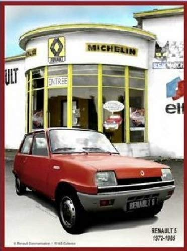 Plaque Metal 20X15cm PUB Renault 5 Garage Michelin ELF