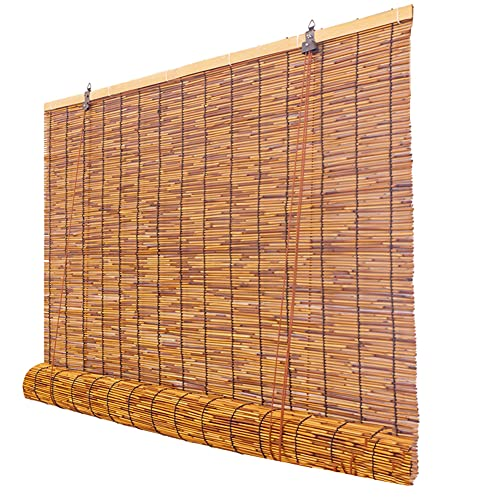 ELLENS Persianas enrollables para Ventana, persianas enrollables de bambú, persianas de caña Natural para Interior/Exterior/Cocina/Patio, con Elevador, Personalizable (48 Pulgadas x 72 Pulgadas)
