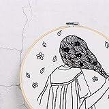 Diseño simple 3D DIY Flower Sketch Kit de bordado Costura hecha a mano para principiantes Conjunto de punto de cruz con regalo de aro de bordado, D, kit de aro retro de 20 cm