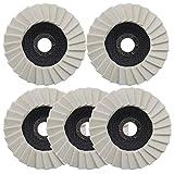 5 unids lana fieltro rueda de pulido 5 pulgadas/125 mm arandela dentada aleta disco de fieltro para...