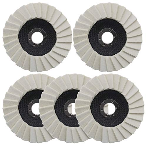 5 Stück Polierscheibe 125mm x 22,2 mm Polierfächerscheibe Filz Glanz Polier Scheibe für Winkelschleifer