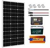 ECO-WORTHY 100W 0.4KWH/Day 12V Off Grid Complete Solar Power System Kit with Battery&Inverter: 100W Solar Panel+20A LCD Charge...
