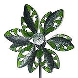 CIM Windrad XL- Kinetic Spinner Tropic - Windspiel Abmessung: Ø 48cm x 180cm - inklusive sicherem und stabilem Gabelfuß