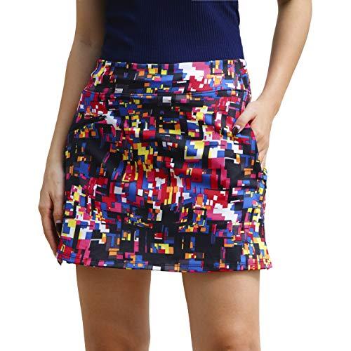 ryandrew Skort for Women Lightweight Activewear Skirt for Running Tennis Golf Workout Pickleball Walking Casual Colorful Blocks Zipper Pockets Medium