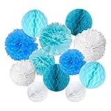 Cocodeko 6 Piezas Pom Poms Bola de la Flor y 6 Piezas Bola de Nido de Abeja de Fiesta para Decoración de Fiesta (Azul)