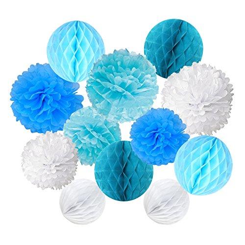 ZERODECO 12 Stück Papier Pompoms und Wabenbälle Dekorpapier Kit für Geburtstag Hochzeit Baby Dusche Parteien Hauptdekorationen - Weiß, Blau und Hellblau