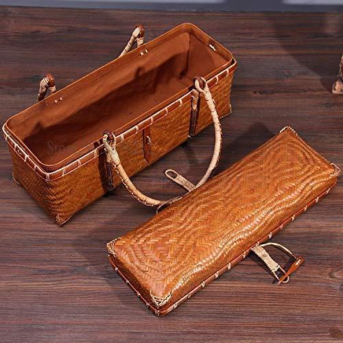 Yongqin Bolsa de Picnic Bolsa de Transporte Vintage Bamboo Travel Juego de té portátil Caja de Almacenamiento Caja de Comida Bolsa de té Japonesa Cesta de Compras de bambú Cesta de Picnic ch