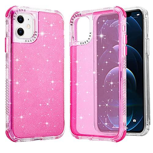 para iPhone 12/12 Pro Glitter Phone Case, a Prueba De Golpes Funda De Parachoques Transparente Antideslizante Ultra Thin Hybrid Pc + TPU Bumper Case (Pink)