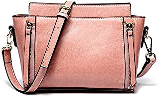 Leather 2018 New Oil Wax Leather Handbag Simple White Leather Wallet Ladies Portable Slung Shoulder Wallet Waterproof (Color : Pink, Size : M)