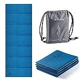 Avoalre Esterilla de Yoga Antideslizante Plegable, Colchoneta de Yoga PVC Antideslizante 5MM de Grosor Fácil de Doblar para Fitness Yoga Ejercicio Pilates Deportes, 173x61CM, Azul