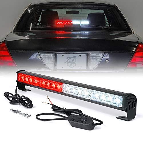 Xprite 18 Inch 16 LED White & Red Emergency Traffic Advisor Vehicle Strobe Light Bar w/ 7 Warning Flashing Modes for Trucks Vehicles Cars