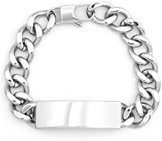 Personalized Stainless Steel Men's Curb Link ID Bracelet, 8 inches