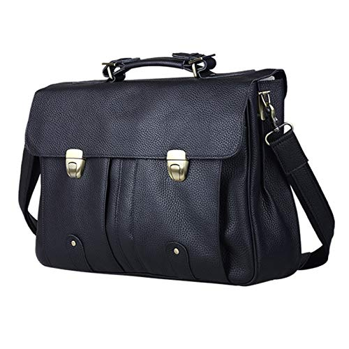 DLQX Men's Portable Business Briefcase,Large Capacity Office Bag,Leather 15 Inch Laptop Bag,Available For Travel/Business/School (black)(Color:A)