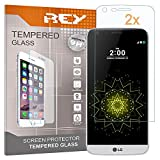 REY 2X Protector de Pantalla 3D para LG G5, Transparente, Protección Completa, 3D / 4D / 5D