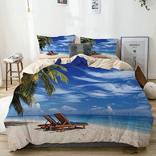Juego de funda nórdica beige, dos sillas de playa en la playa de arena tropical debajo de palmeras Juego de cama de 3 piezas relajante y decorativo con 2 fundas de almohada Fácil cuidado Anti-alérgico