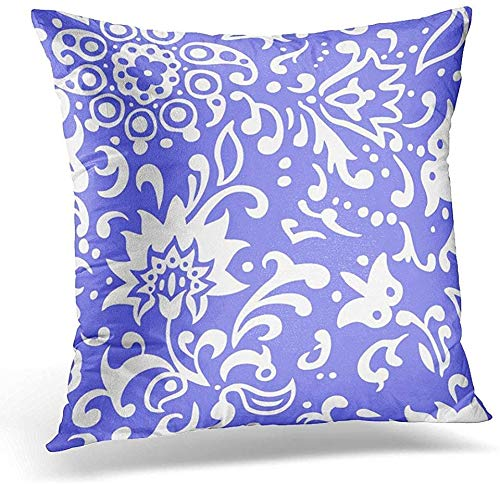 Soft Decorative Square Throw Pillow Case Throw Pillow Cover Flowers and Vines Pattern On Periwinkle Color Decorative Pillow Case Home Decor 18x18 Inches Pillowcase
