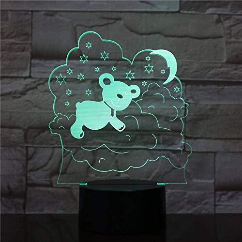 Lámpara de ilusión 3D Luz de noche LED Novedad Lindo oso durmiente 7 colores que cambian Dormitorio Lámpara de mesa para bebés Niño Año Nuevo regalo de Navidad