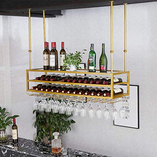 European Style Iron 3-Tier Ceiling Wine Racks Bottle Beverage Stand Adjustable Height Stemware Holder To Hang Cocktail Or Champagne Flutes For Kitchen Bar Pubs Or Restaurants Rack,#1,120Cm(4