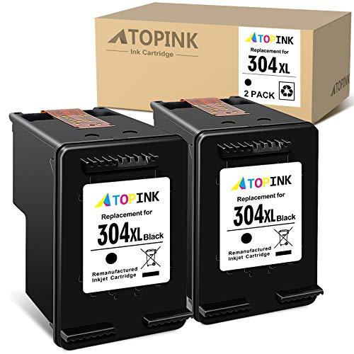 ATOPINK Cartucho de tinta remanufacturado para HP 304 304XL para HP Deskjet 2620 2621 2622 2623 2624 2625 2628 2630 2632 2633 2634 2652 2655 3720 3720 3720 3720 Envy 5030 5020 5032 5050 (2 negros)