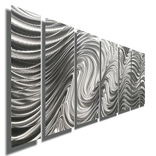 "Statements2000 Modern Metal Wall Art, 68"" x 24"", Indoor/Outdoor Hanging Sculpture by Jon Allen, Silver"