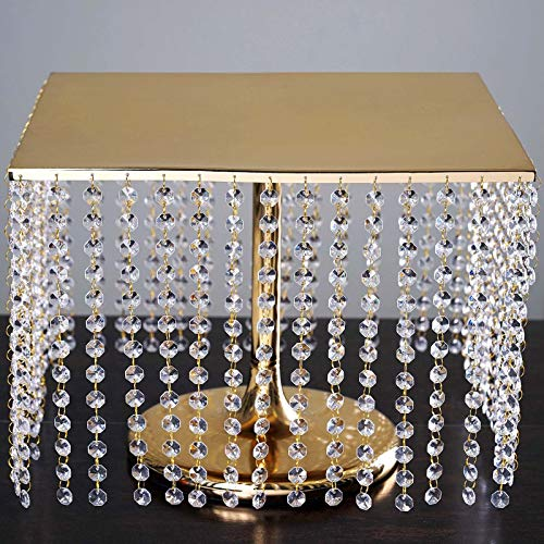 "Tableclothsfactory 16"" Bejeweled Gold Square Crystal Pendants Metal Chandelier Wedding Riser Cake Stand"