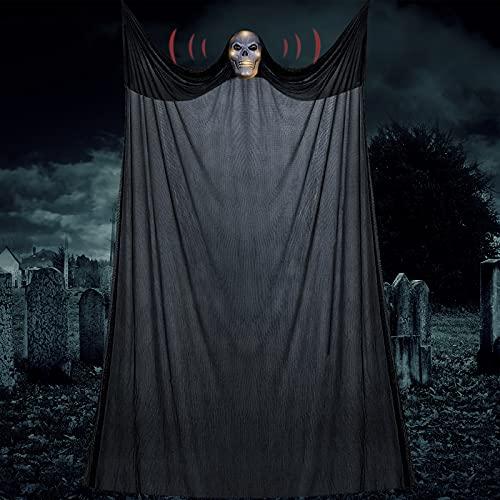 FORMIZON Fantasma Scheletro di Halloween, Appeso Scheletro Volante Ghost, con Suoni E Risate Inquietanti, Decorazione Cranio Appeso Fantasma, per Bar da Festa in Giardino Mascherate (luminescente)