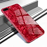 Avzax® Marble Texture Tempered Glass Smooth Scratch-Proof Protective Back Cover + TPU Soft Anti-Collision Bumper for Apple iPhone 8 Plus (Red)