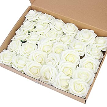 MACTING Artificial Flower Rose 30pcs Real Touch Artificial Roses for DIY Bouquets Wedding Party Baby Shower Home Decor  Ivory