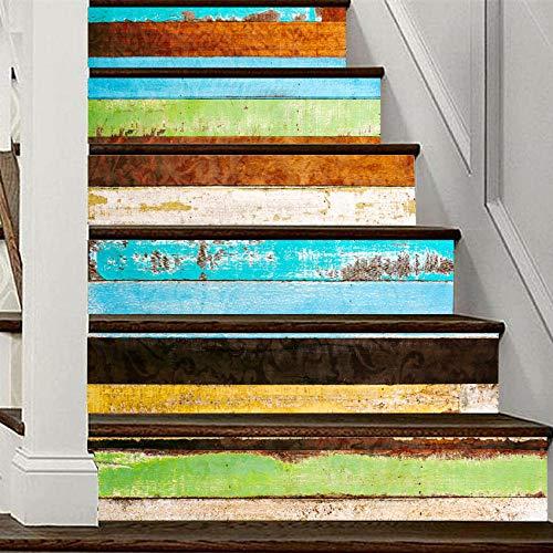 QINMENG Trap Sticker 3D Creatieve DIY Zelfklevende Kleur Hout Graan Mural Waterdichte Verwijderbare Sticker Vinyl Home Decoratie-13 Stuks