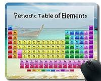 元素の周期表科学化学チャートゲーミングマウスパッド、アースオーシャンビーチボートテーマ付きマウスマットステッチエッジ
