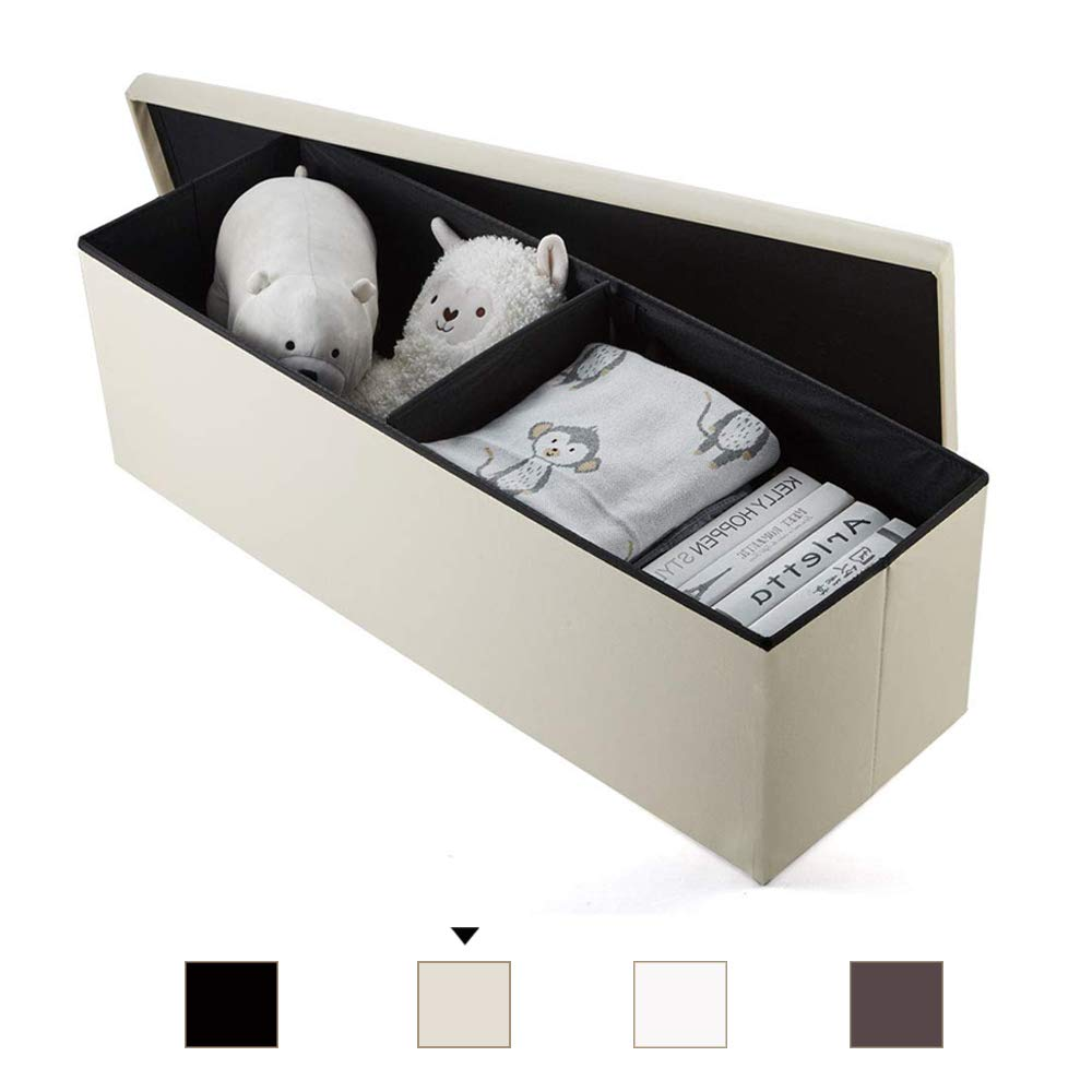Baúl Puff Taburete para almacenaje Plegable - Asiento Plegable Arcón Asiento Puf Ordenación Caja de almacenaje 110(CM) x 38(CM) x 38(CM) Carga máxima de 300 kg (Beige): Amazon.es: Hogar