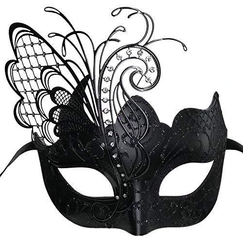 CCUFO [Fliegender Schmetterling] Schwarzes Gesicht [funkelnden Flügel] Laser Cut Metall venezianischen Frauen Maske Maskerade / Party / Ball Prom / Mardi Gras / Hochzeit / Wanddekoration