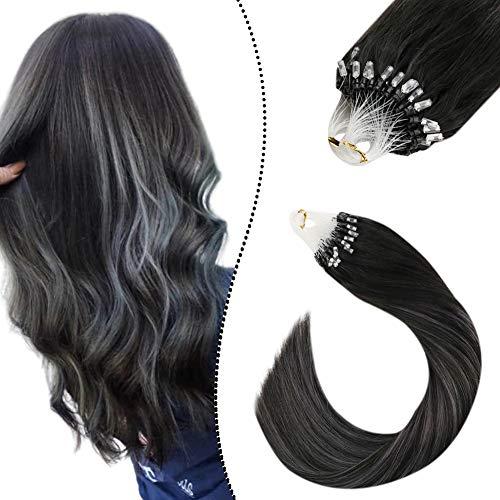 Ugeat Micro Bead Fusion Hair Extensions Remi Brasilian Haarverlangerung mit Microrings Echte Haare Naturliches Schwarz zu Silber und Schwarz (50cm, 50G/50S)