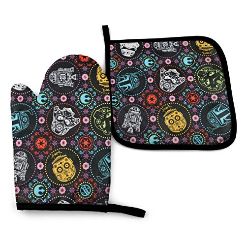 Oven Mitt and Pot Holder with Hanging Loops, Heat Resistant Non-Slip Surface Safe for Baking, Cooking, BBQ (Star Wars)