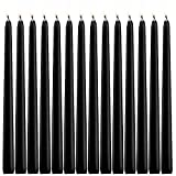 YUCH Black Taper Candles - Set of 14 Dripless Candles - 10 inch Tall, 3/4 inch Thick - 7.5 Hour Clean Burning