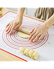 BJL Large Silicone Baking Mat Extra Thick Non Stick for Rolling Dough (40cm*60cm), Pastry Mat with Measurements, Reusable Fondant Mat, Counter Mat, Dough Rolling Mat, Oven Liner, Pie Crust Mat, Ideal for Making Bread, Cake & other Desserts