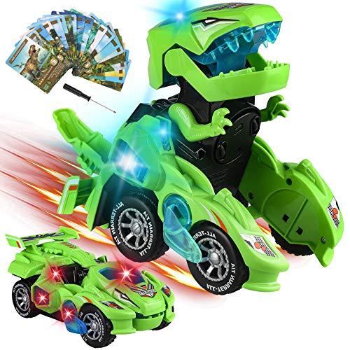 Yojoloin Coches de Dinosaurios Juguetes,Transformers Juguete Cars,Switch Go Dinos,2 en 1 Coche Robot Niños con Luz LED y Sonido,Juguetes Niños 5-9 años,Regalos para Niños de 10 años