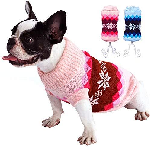 Beirui Suéteres para perros pequeños y gatos, suave ropa de chihuahua para cachorros, invierno cálido perro pequeño, suéter de cuello alto, pecho azul 34-40 cm ⭐
